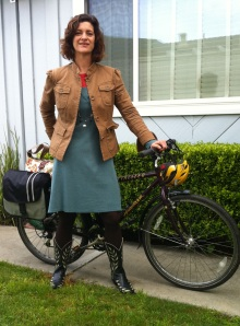 Old West: Horny Toad dress and Old Gringo boots on Zella Mae, my workhorse bike.