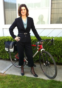 Suitable Pants: Tassel moccasin heels and a cropped pants suit with Liberty, my go-anywhere bike.