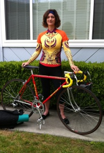 Tribal Wisdom: Tribal jersey and sleeves by YellowMan over yoga wear make an easy transition from bike to asana, with Izumi, my vintage '86 racer.