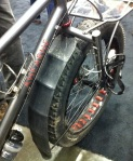 But Ahearne gets the green award for recycling old tubes to fashion their snow bike's fenders.
