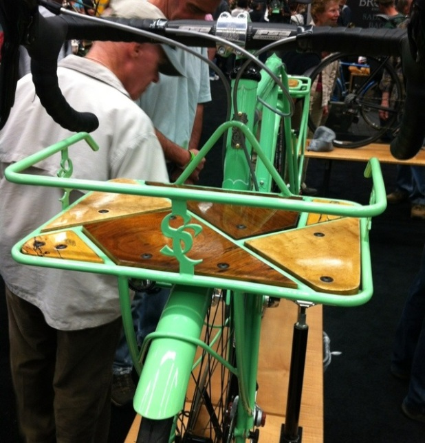 This rack from Shamrock Cycles featured multiple wooden inlays.