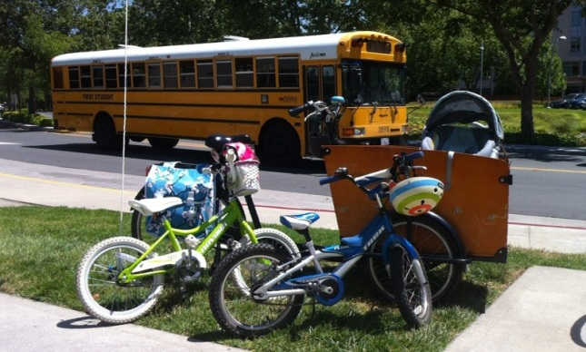 The cargo bike alone was impressive.  Riding it with two other kids in tow is phenomenal.