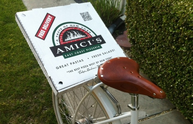 D'oh!  Amici's offers free delivery. So why was I fussing with take-out?