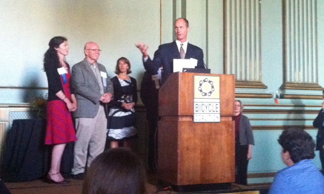 The president of the San Francisco BOMA accepted their award for supporting bike parking legislation.