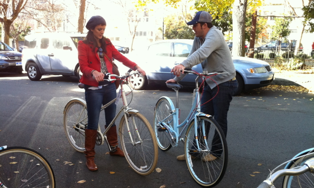 The mixte (left) and the loop frame (right) are two styles of step-through bikes.