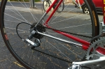 The rear triangle is chrome too. The wheels have 36 double-butted spokes.