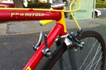 Down tube shifters! Front is friction, rear is indexed.  Some wear on the decals.