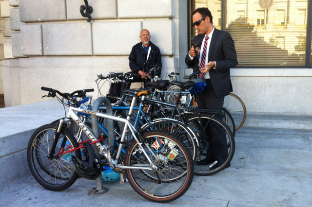 Even the men were dressed up and riding in on their bicycles.