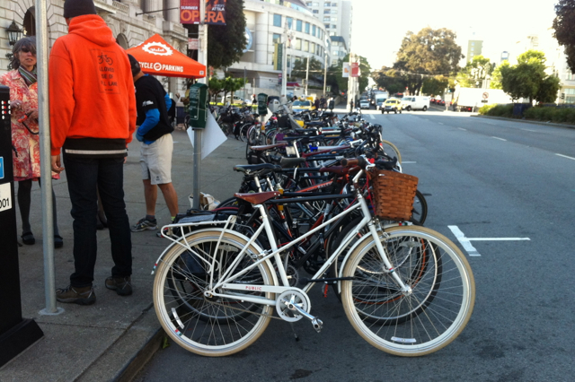 Volunteers were there to valet park and guard our bikes right in front of the historic building.