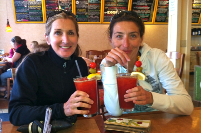 Cindy and Katie earned their Bloody Marys.