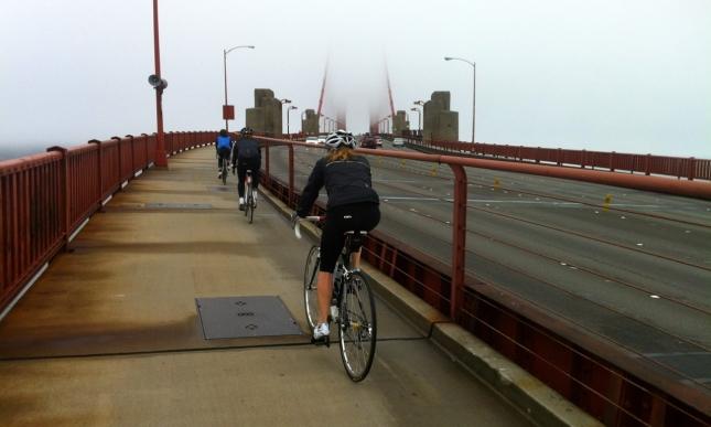 We started up the Golden Gate Bridge.