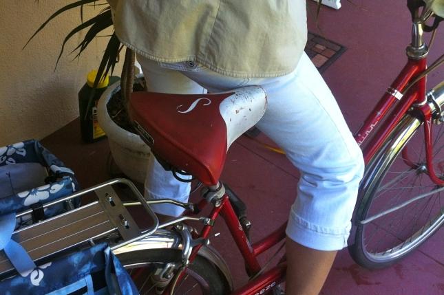 For cruising around town, Cindy loves riding her vintage Schwinn Breeze.