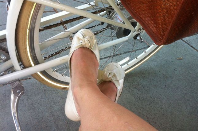 I rested my feet waiting for Dick at the Caltrain station. My ballet flats are not that comfy.