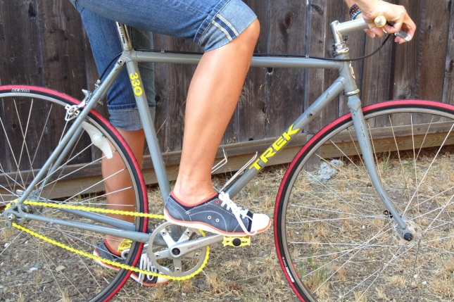 A vintage road bike converted to single speed keeps everything simple.