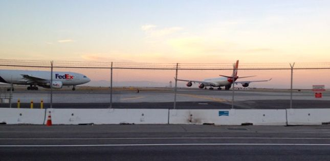 The airplanes looked beautiful in the fading light, but the airplane fuel smell was palpable.