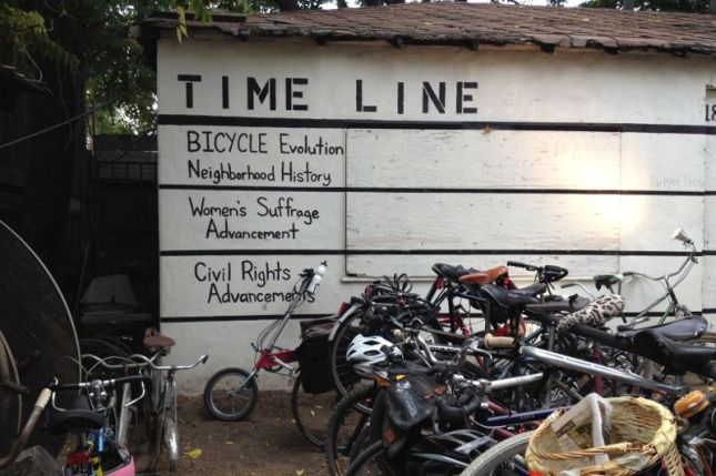 Now his skills include educating people on the history of bicycling.