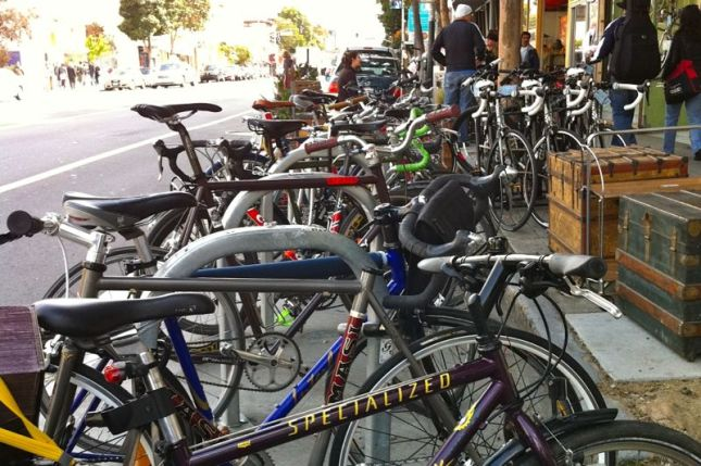 This super-sized bike corral is on Valencia Street in San Francisco. Abundant bike parking is good for retail.