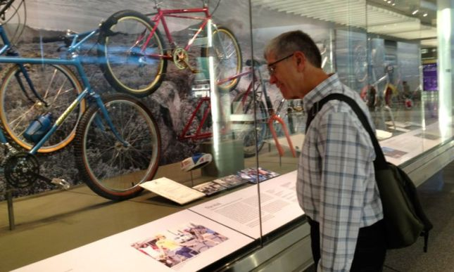 We checked out the mountain bike history exhibit in the SFO International terminal.