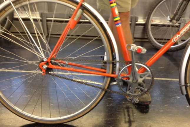 There's evidence that there was once a derailleur attached to the dropout.