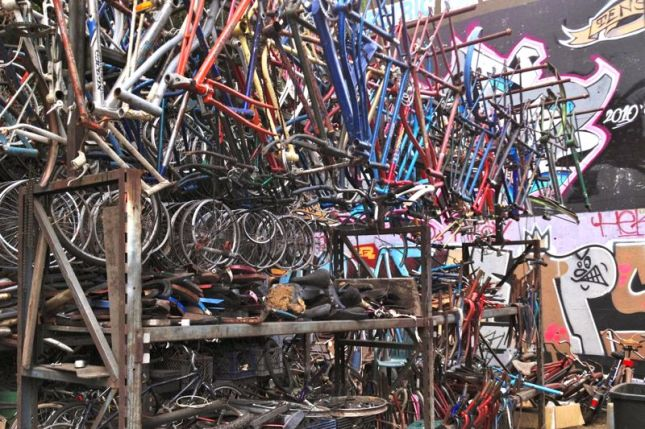 Behind the shop are shelves of vintage bike frames awaiting reincarnation.
