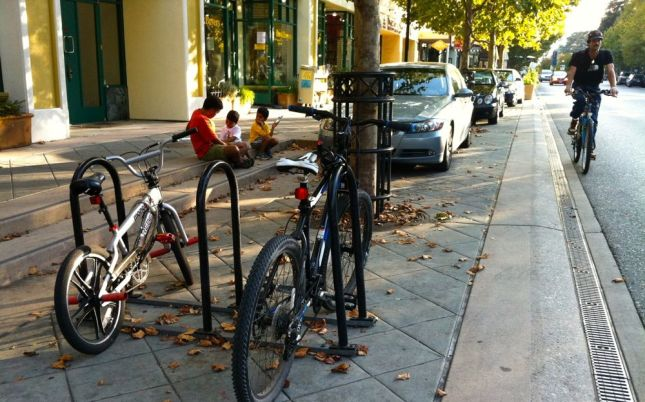 The bookstore chose a bike corral, the first I had ever seen.