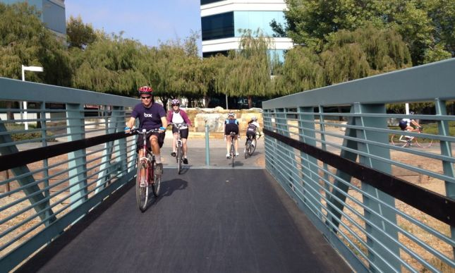 Crossing the bridge into Foster City, we finally hit other trail users.