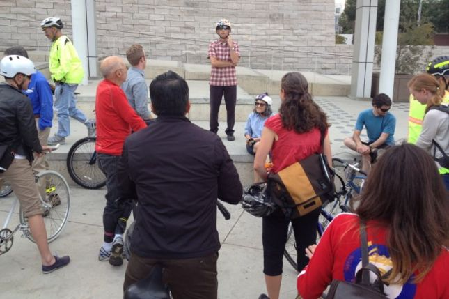 We gathered at City Hall for a bike tour of downtown San Jose on our way to Faber's Cyclery.