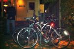 The full bike rack at Zibbibo, a high-end restaurant in Palo Alto, shows that it has customers that arrive by bike.