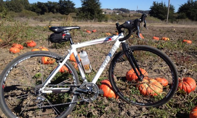 We turned back on the singletrack, followed the railroad and landed in a pumpkin patch.