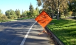 "Riding in Google-land on the weekend, the bike lane was blocked by a ""share the road"" sign."