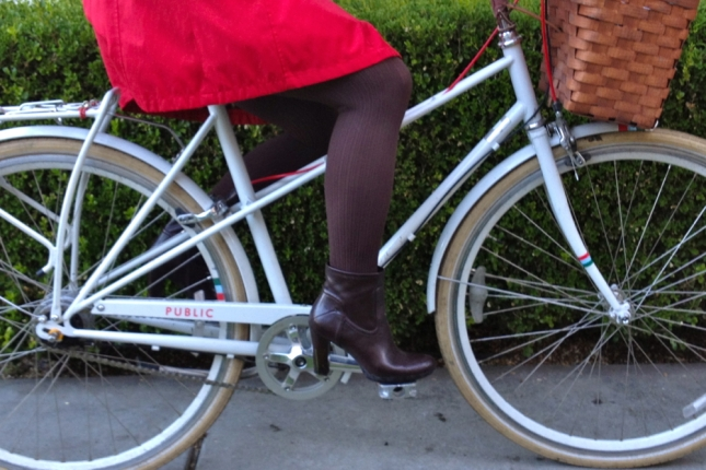 Tights and waterproof booties keep the bottom half warm and dry.