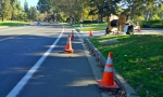 "In another 200 feet we finally reached the ""construction zone"". Cones were left in the lane for no reason."