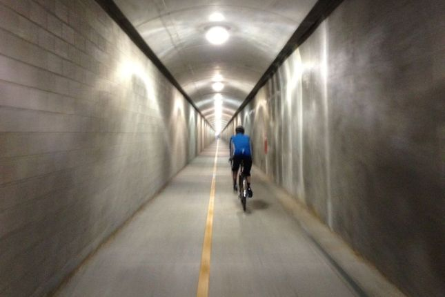 ...a former rail tunnel that was recently converted to a bike/ped tunnel.