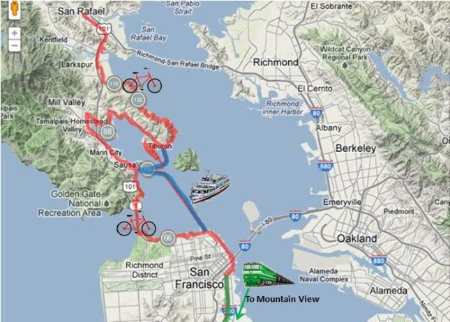 Tiburon Trip Map