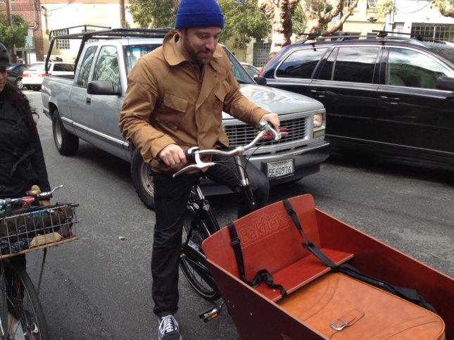 Bike Snob piloted a cargo bike with his character's luggage.