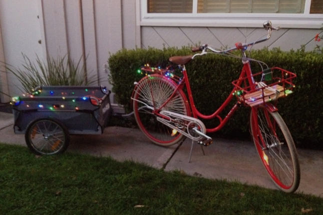 Two strands of lights for the bike, two for the trailer.
