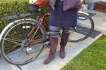 The corduroy skirt pairs well with the heavy sweater tights and tall boots.