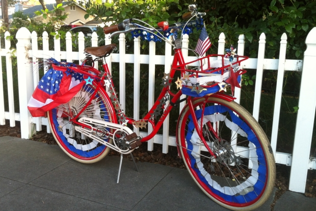 Decorating your bike for a 4th of July parade is an American tradition.