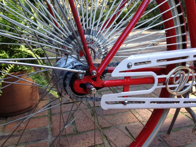 There are seven gears in that hub, protected from the elements.