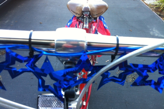 With zip ties I attached garlands to my handlebars and frame.