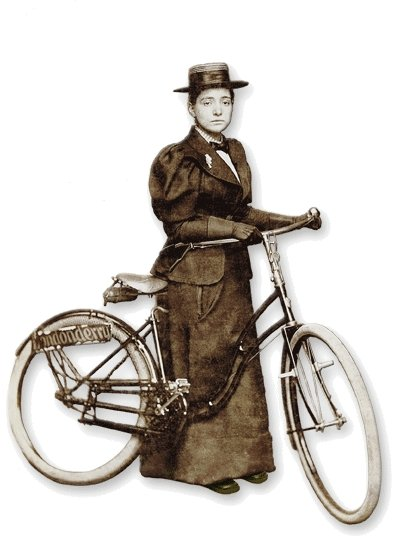 Annie Londonderry started her epic voyage riding a heavy bike and wearing a long skirt.