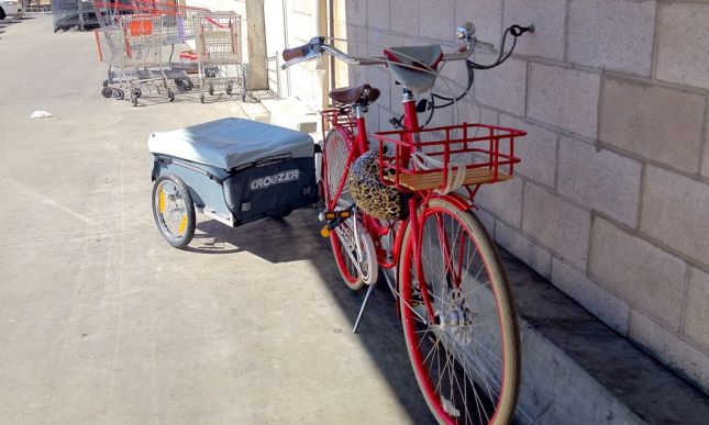 Lesson #2: Standard bike racks don't work with trailers so you have to make do.