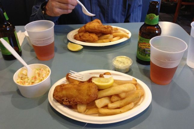 Fish & chips, coleslaw and beer. Nothing fancy, but very tasty.