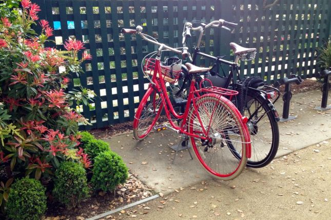 The Gamble Garden has one of the prettiest bike parking areas.