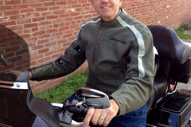 Dick's motorcycle jacket  is made of hemp canvas by Joe Rocket.