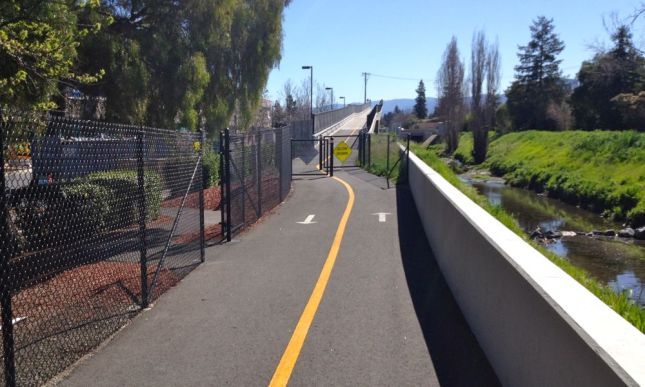 Ah, my first set of chicane fences, on the Permanente Creek Trail Bridge.