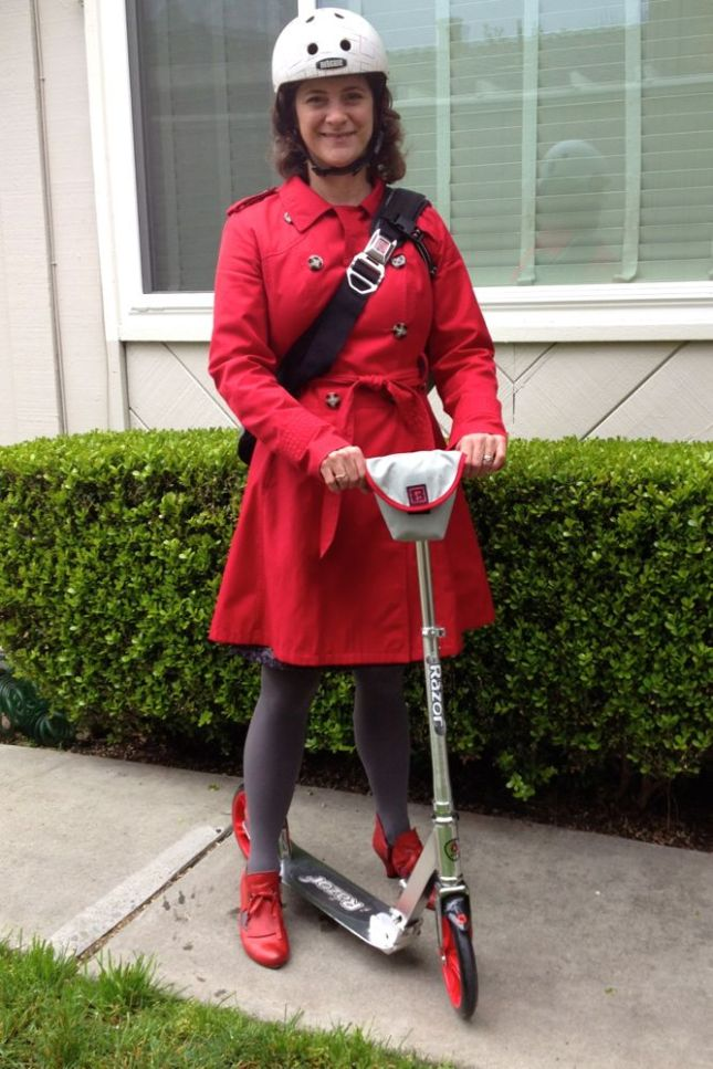 Red Coat Red Shoes Red Scooter