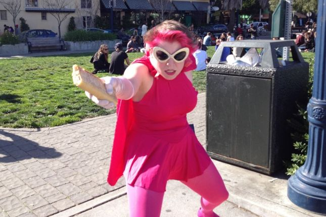 A superhero in pink seemed fitting for the theme of the day.