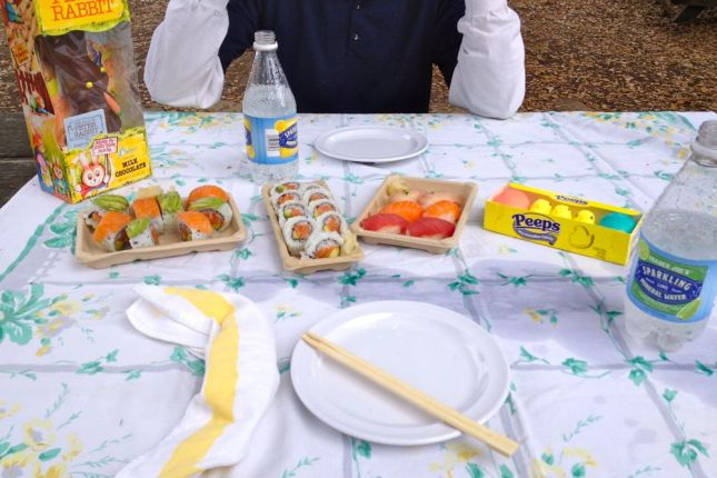 Our untraditional lunch: sushi, eggs and Easter candy. The sparkling water didn't travel well...