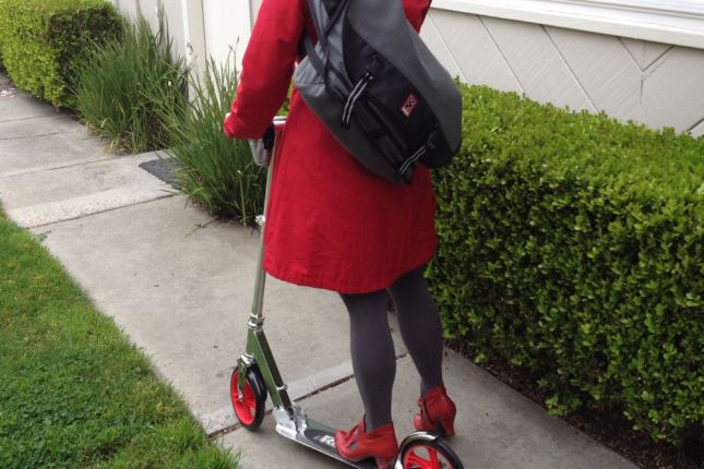 Riding a scooter makes getting to the light rail faster and a lot more fun.